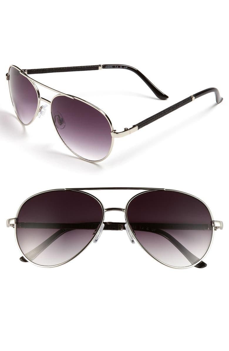 FE NY 56mm Aviator Sunglasses, Main, color, SILVER SNAKE LEATHER