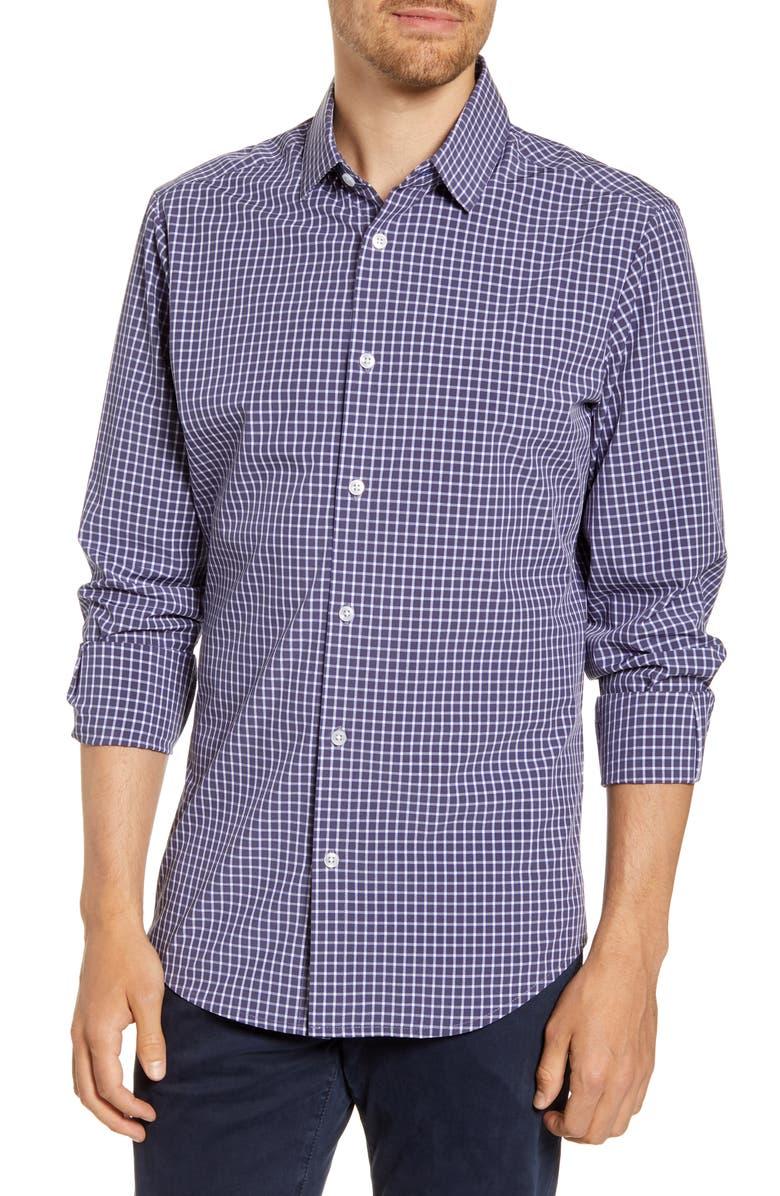 MIZZEN+MAIN Cunningham Trim Fit Button-Up Performance Shirt, Main, color, NAVY