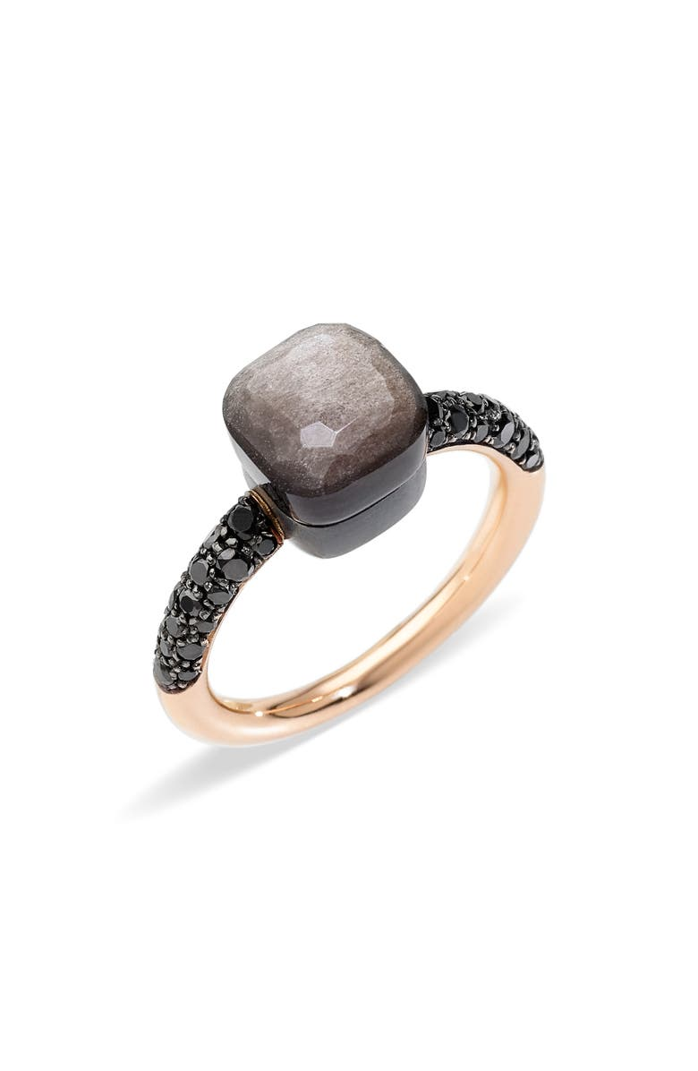 POMELLATO Nudo Petit Obsidian Ring, Main, color, ROSE GOLD/ OBSIDIAN