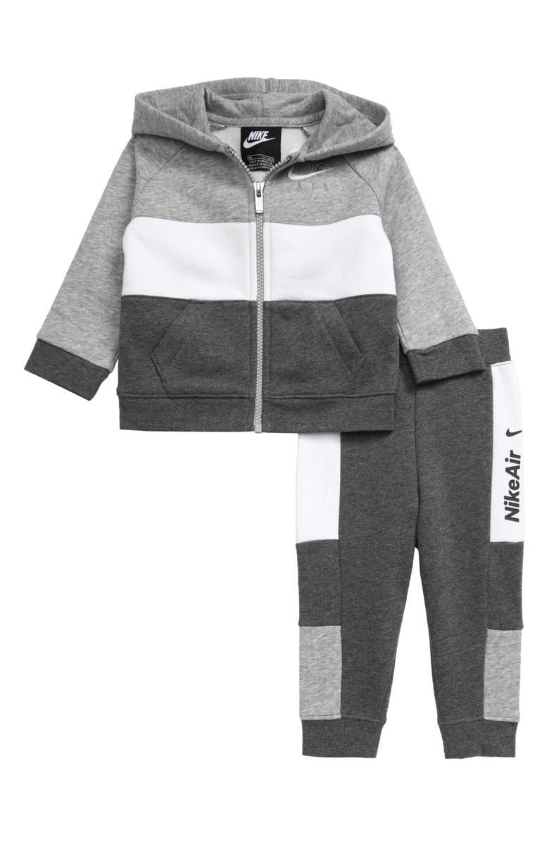 NIKE Air Full Zip Hoodie & Jogger Pants Set, Main, color, CHARCOAL HEATHER