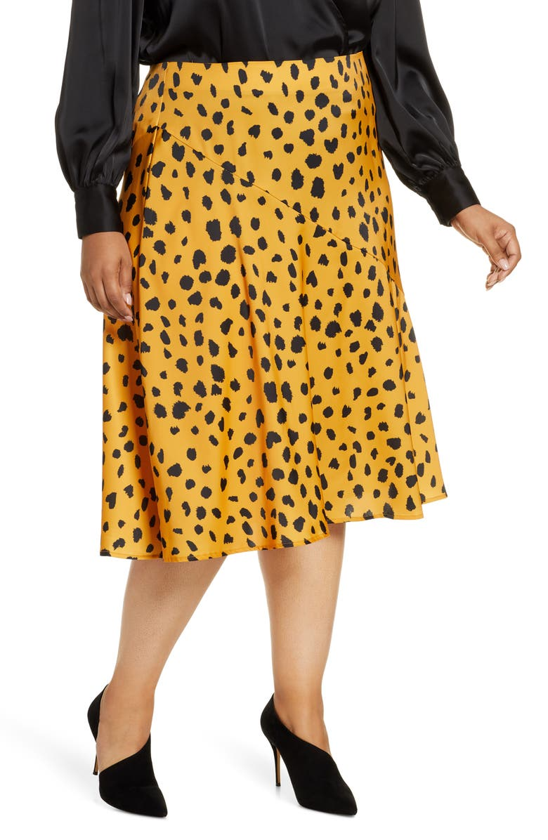 ELOQUII R29 x ELOQUII Animal Print Satin Skirt, Main, color, STYLISH SPOTS