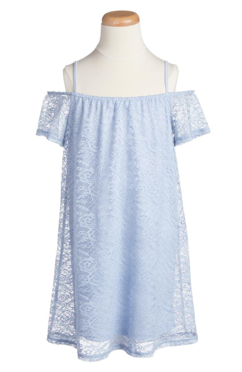 LOVE, FIRE Lace Shift Dress, Main, color, ZEN BLUE