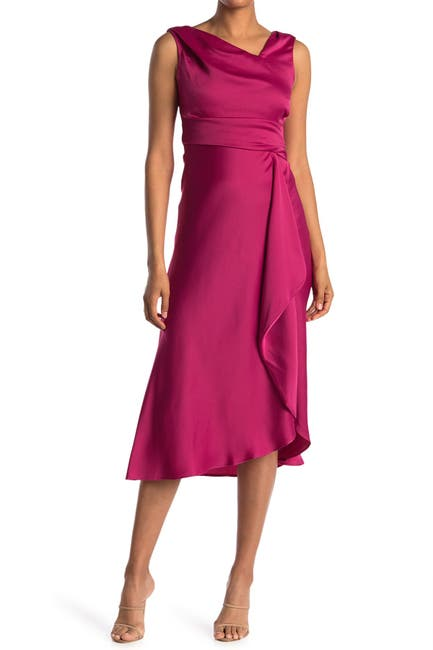 Image of Taylor Asymmetrical V-Neck Satin Crepe Dress