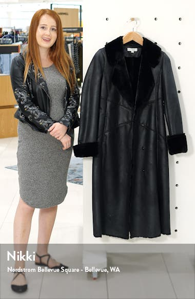 Faux Leather Coat with Faux Shearling Trim, sales video thumbnail
