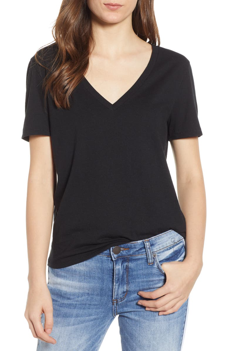 V-Neck Tee, Main, color, BLACK