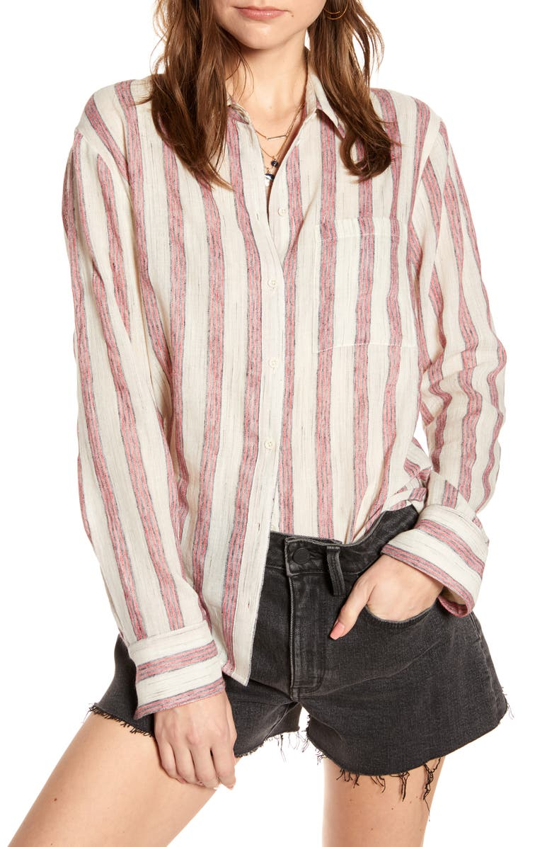 TREASURE & BOND Oversize Stripe Shirt, Main, color, IVORY- BLACK HOMESTEAD STRIPE