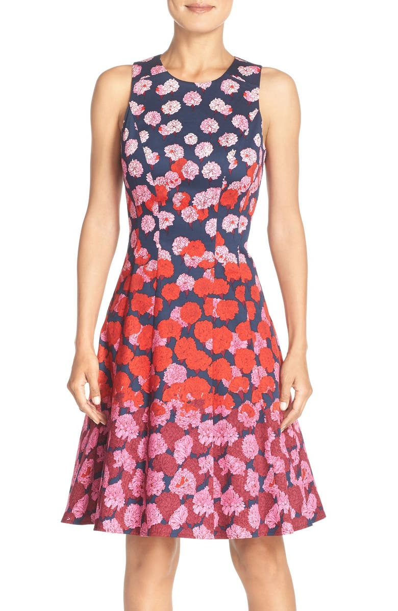MAGGY LONDON Floral Print Fit & Flare Dress, Main, color, 425