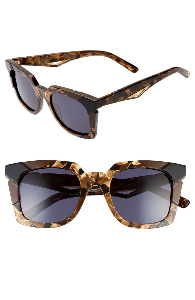 PARED Tints Tones 48mm Square Sunglasses, Main, color, MARBLE TORTOISE / BLACK/ GREY