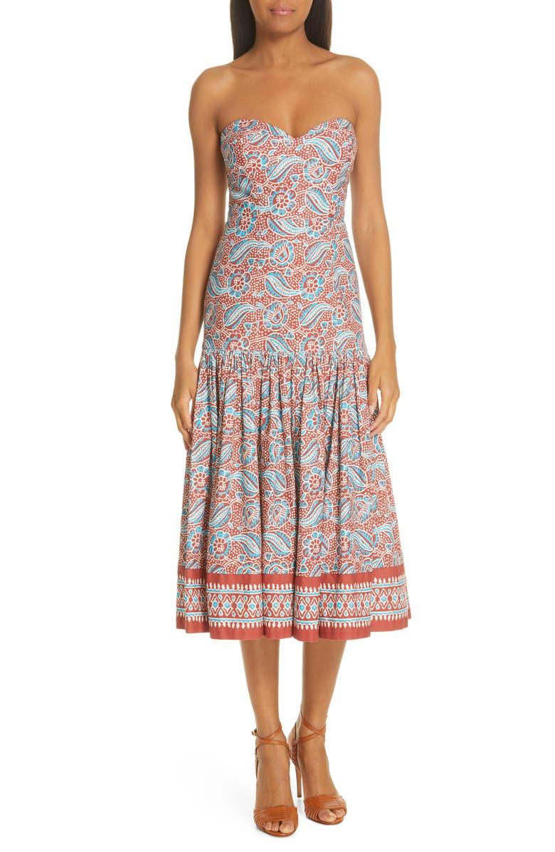 VERONICA BEARD Fiore Strapless Midi Dress, Main, color, 623