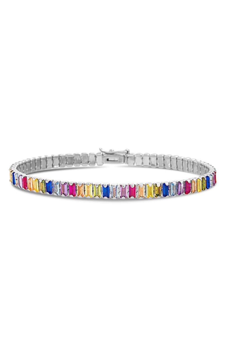 LESA MICHELE Baguette Tennis Bracelet, Main, color, SILVER/ MULTI