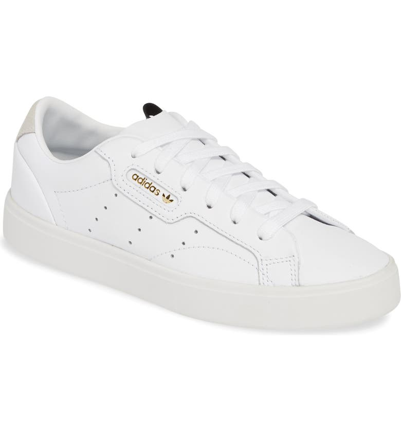 ADIDAS Sleek Leather Sneaker, Main, color, WHITE/ WHITE/ CRYSTAL WHITE