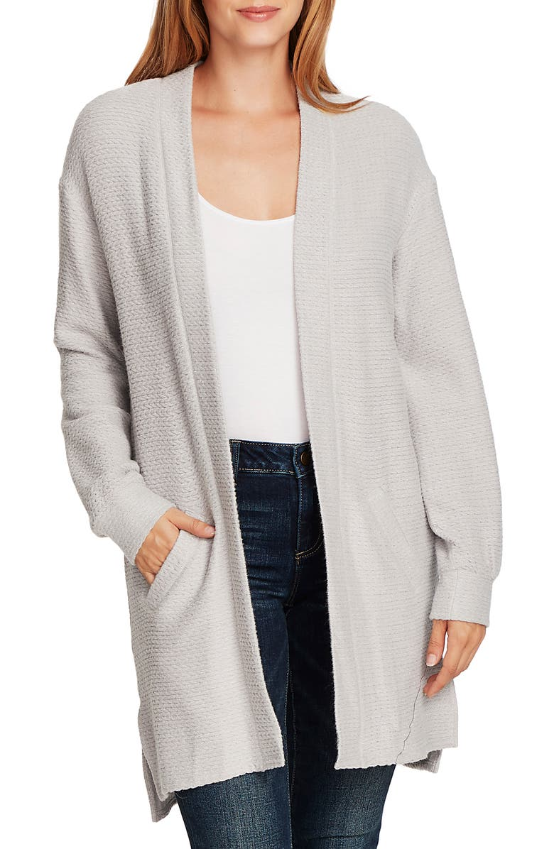 VINCE CAMUTO Cinch Back Cable Knit Cardigan, Main, color, SILVER HEATHER