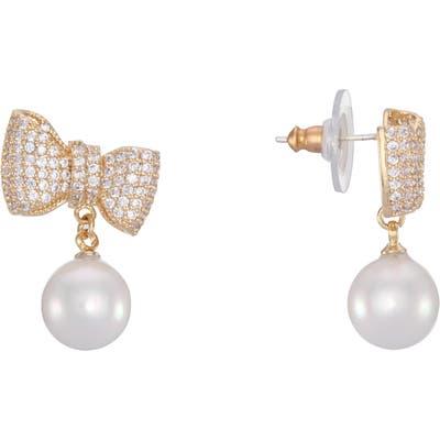 Nina Bow & Imitation Pearl Drop Earrings