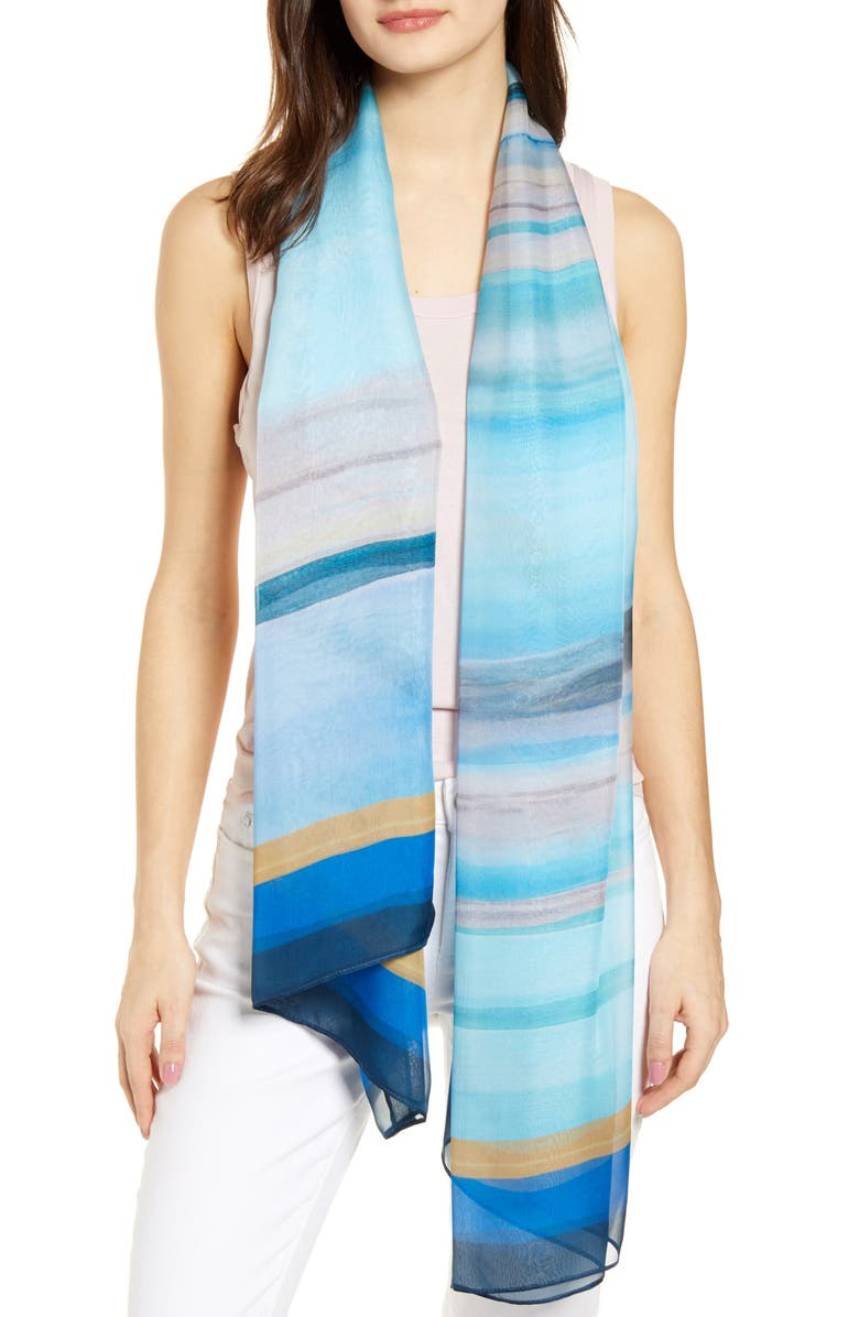 NORDSTROM Silk Chiffon Oblong Scarf, Main, color, BLUE SEA AND SKYE
