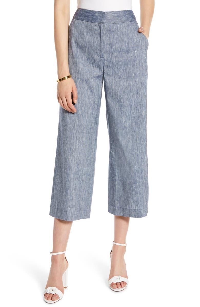 HALOGEN<SUP>®</SUP> Wide Leg Crop Pants, Main, color, CHAMBRAY