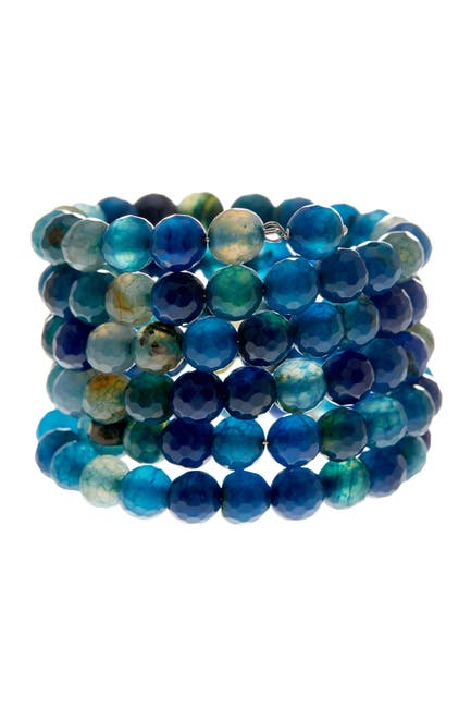 Image of Savvy Cie Faceted Blue Agate Coil Wrap Bracelet