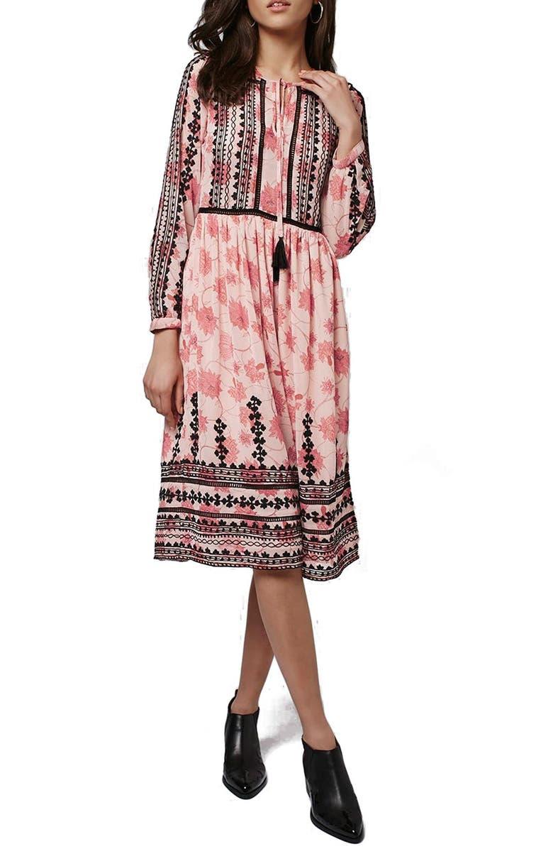 TOPSHOP Embroidered Print Midi Dress, Main, color, 650