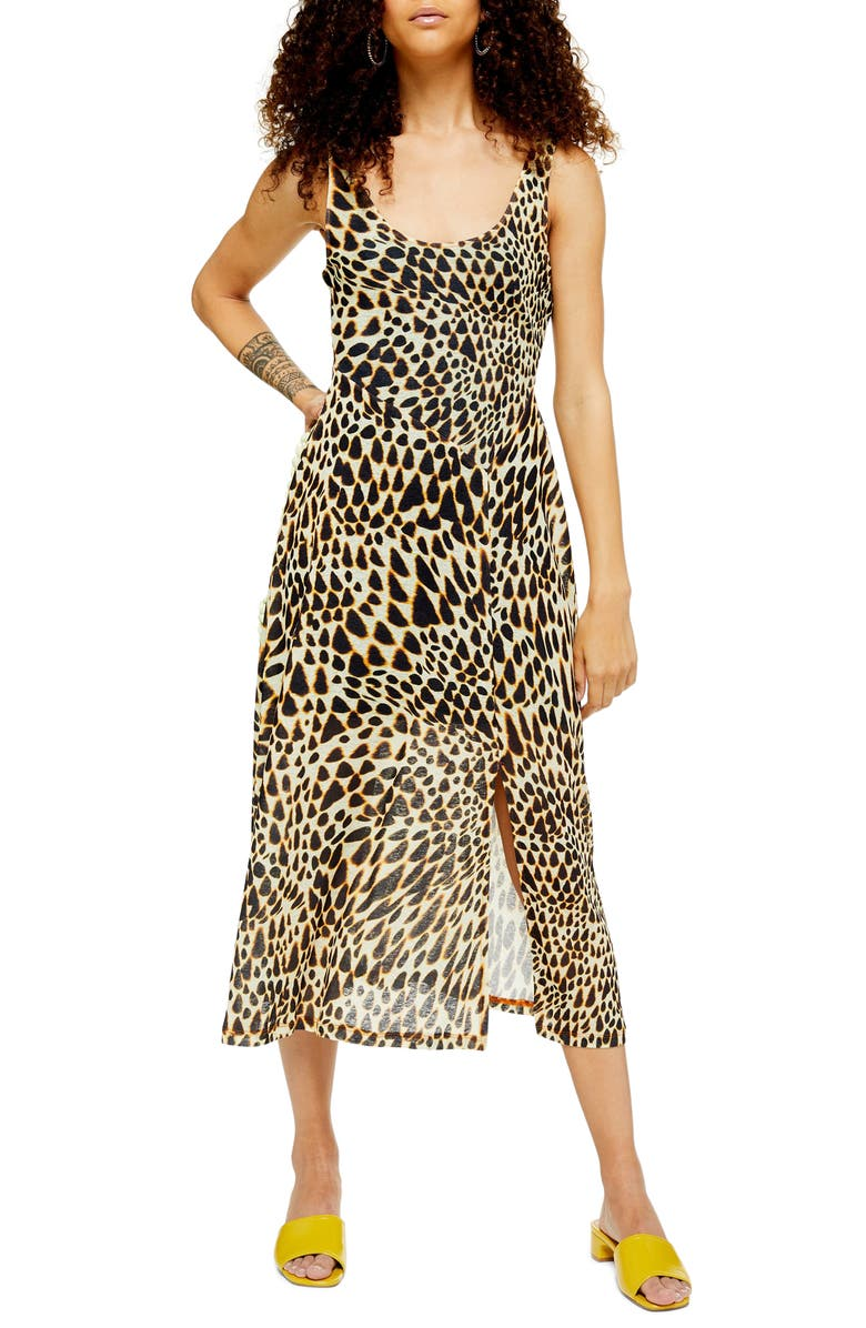 TOPSHOP Animal Mesh Sleeveless Midi Dress, Main, color, 001