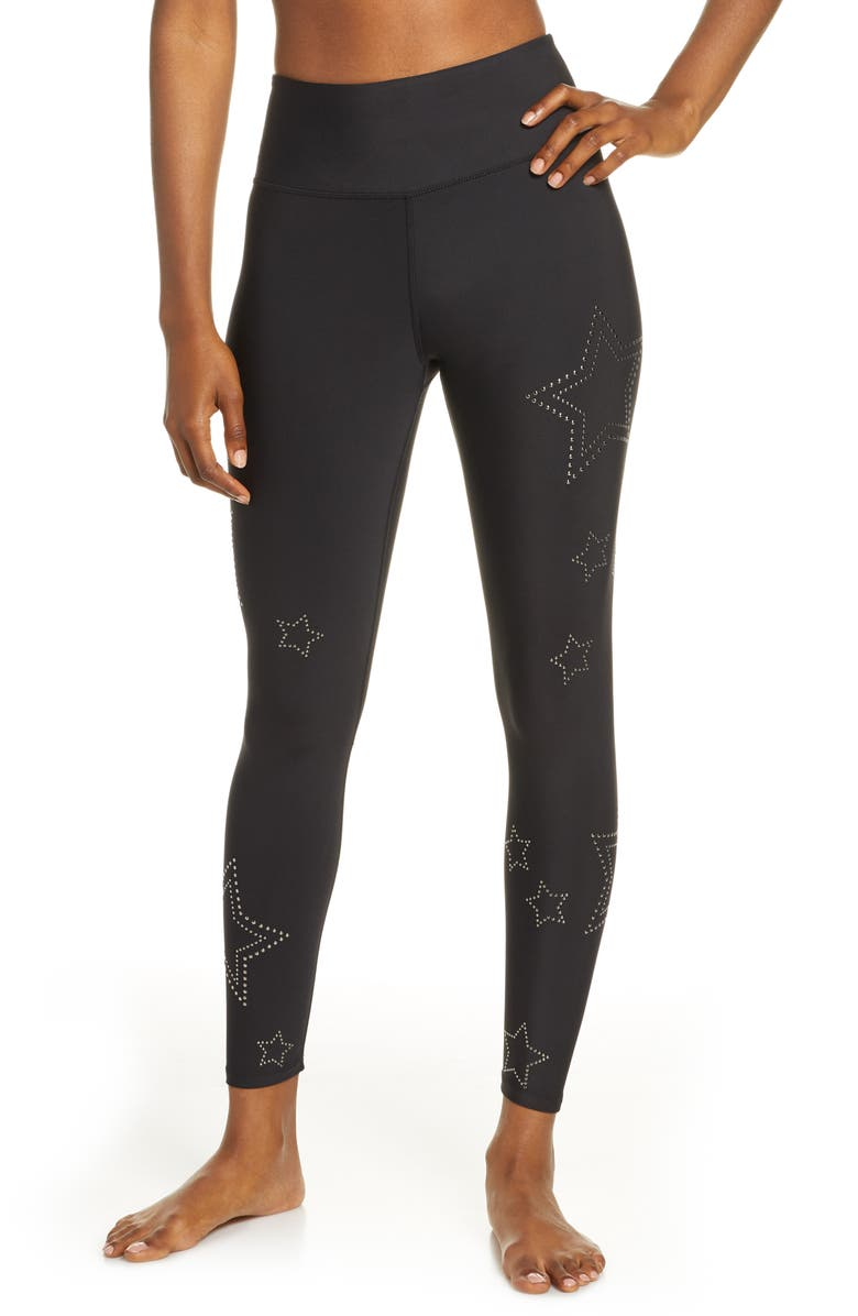SOUL BY SOULCYCLE High Waist Star Studded Leggings, Main, color, BLACK