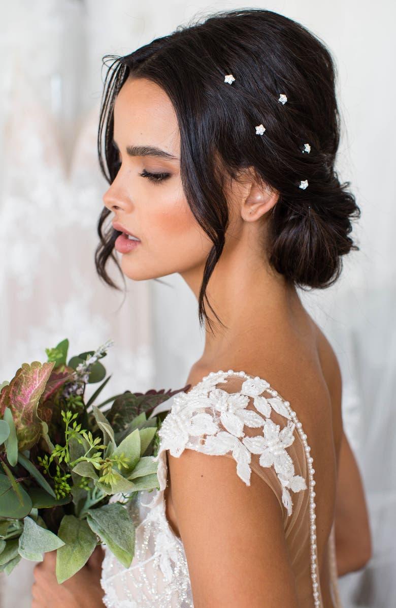 BRIDES & HAIRPINS Danai Set of 5 Crystal Hair Pins, Main, color, SILVER
