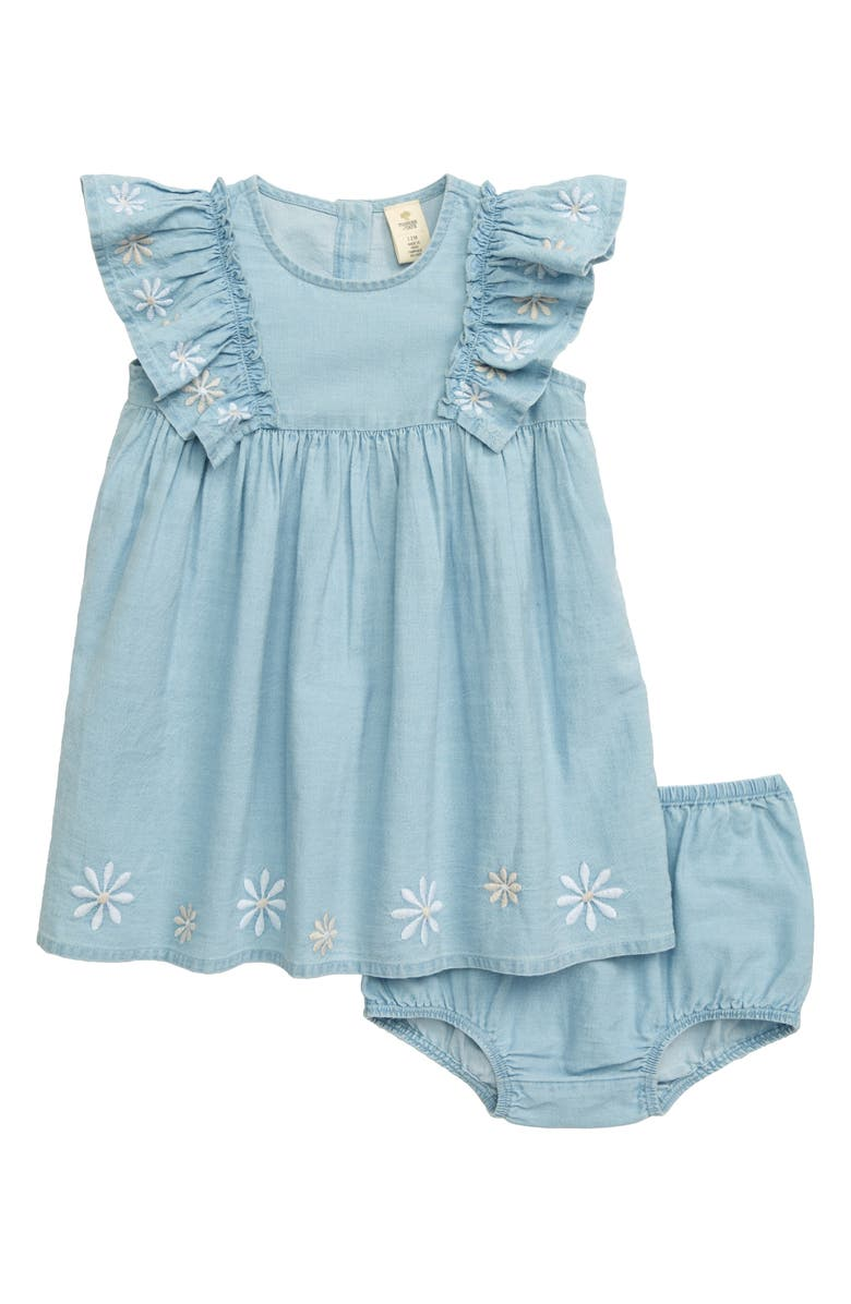 TUCKER + TATE Embroidered Ruffle Dress, Main, color, SEASIDE BLUE WASH