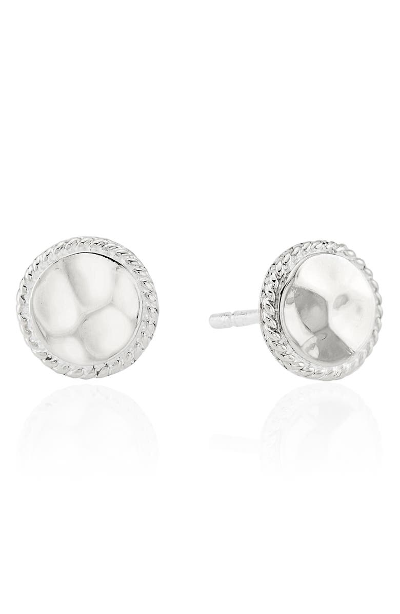 ANNA BECK Hammered Stud Earrings, Main, color, SILVER