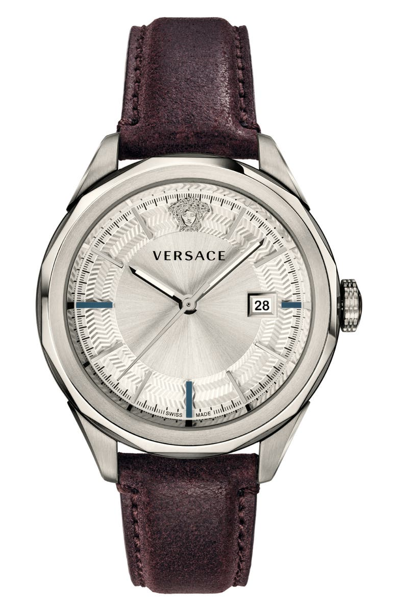 VERSACE Glaze Leather Strap Watch, 43mm, Main, color, BURGUNDY/ SILVER