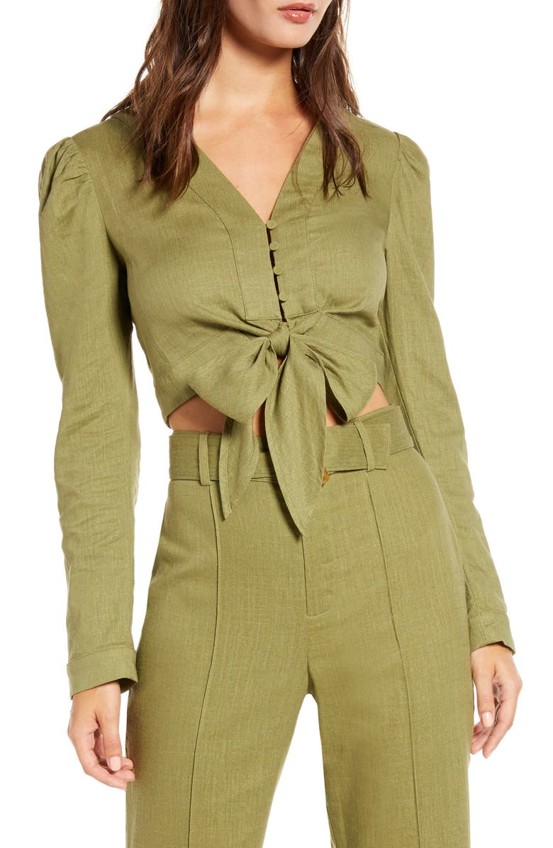 ENGLISH FACTORY Puff Sleeve Crop Top, Main, color, GREEN