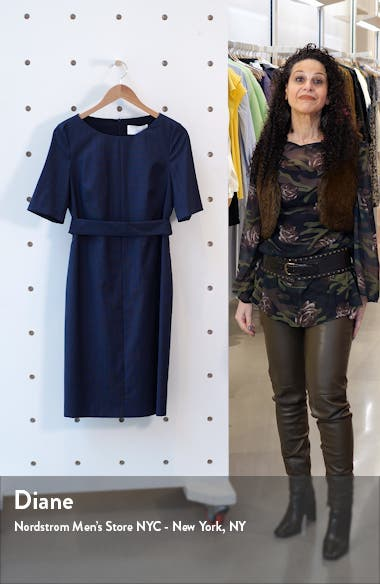 Dasteria Microcheck Belted Wool Blend Sheath Dress, sales video thumbnail