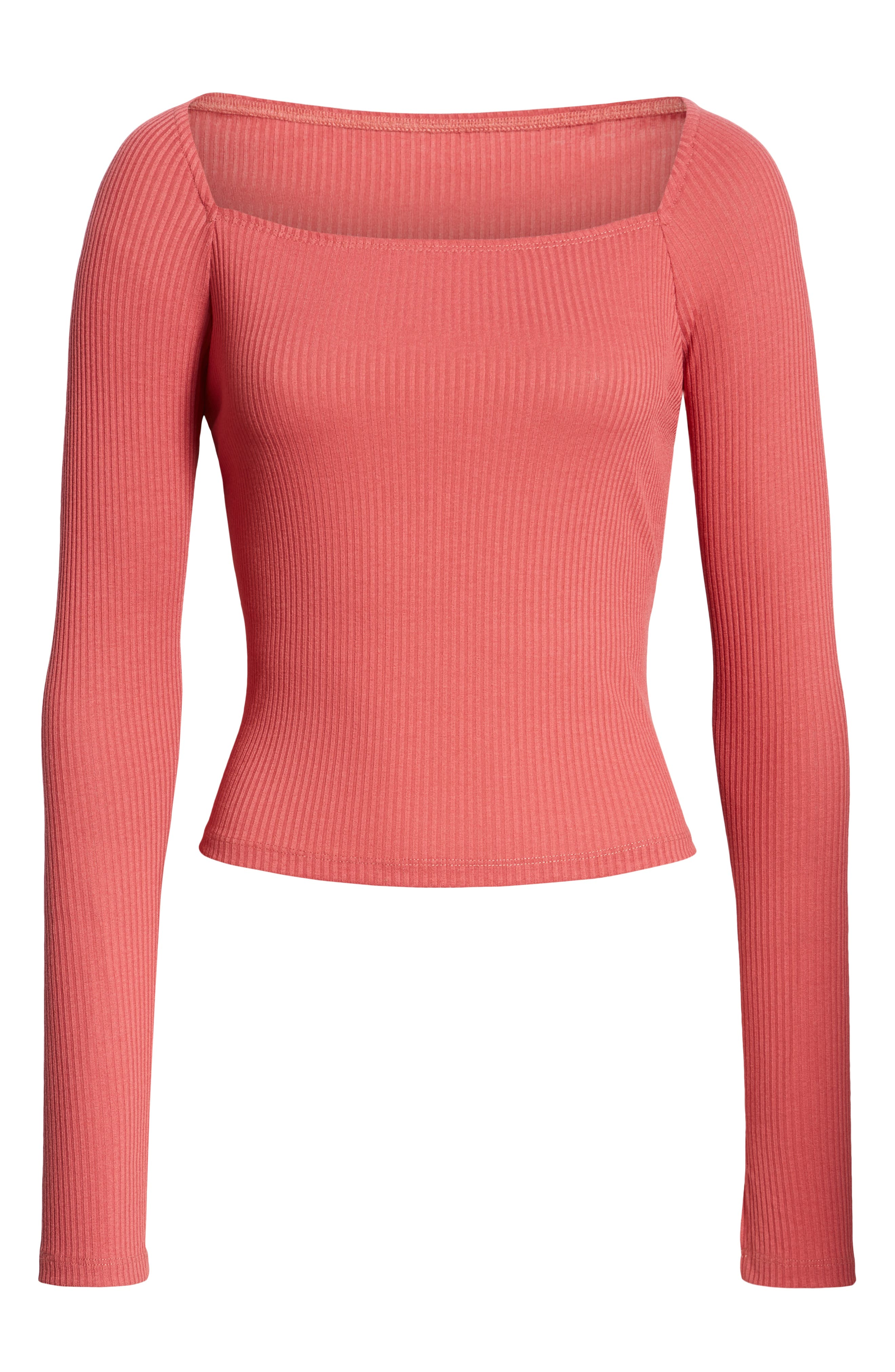 ,                             Square Neck Ribbed Tee,                             Alternate thumbnail 6, color,                             630