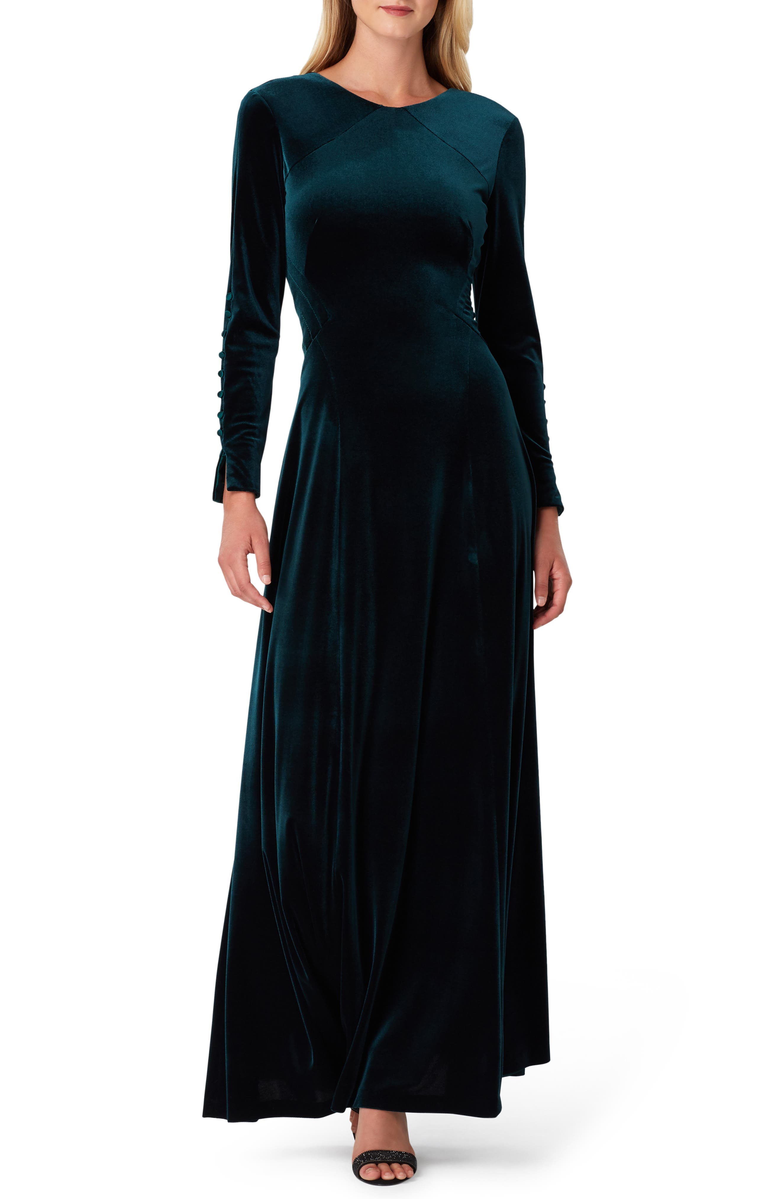 1930s Style Clothing and Fashion Womens Tahari Long Sleeve Stretch Velvet Gown $218.00 AT vintagedancer.com