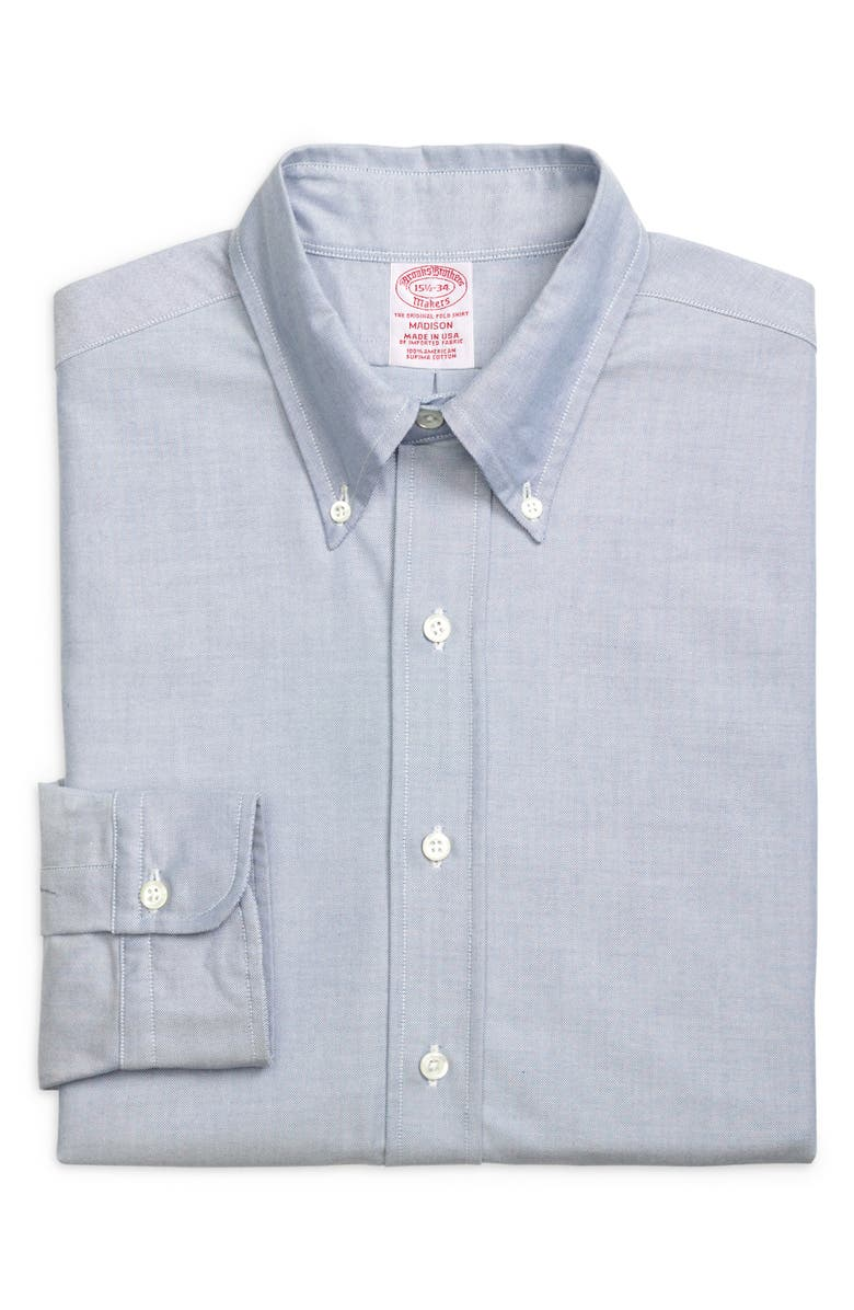 BROOKS BROTHERS Madison Classic Fit Solid Dress Shirt, Main, color, SOLID BLUE