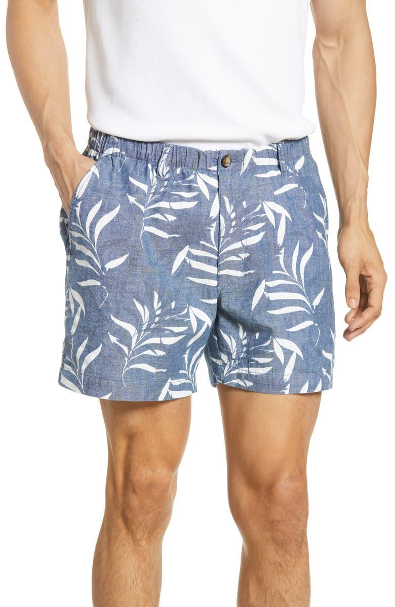 VINTAGE 1946 Snappers Palm Print Shorts, Main, color, INDIGO