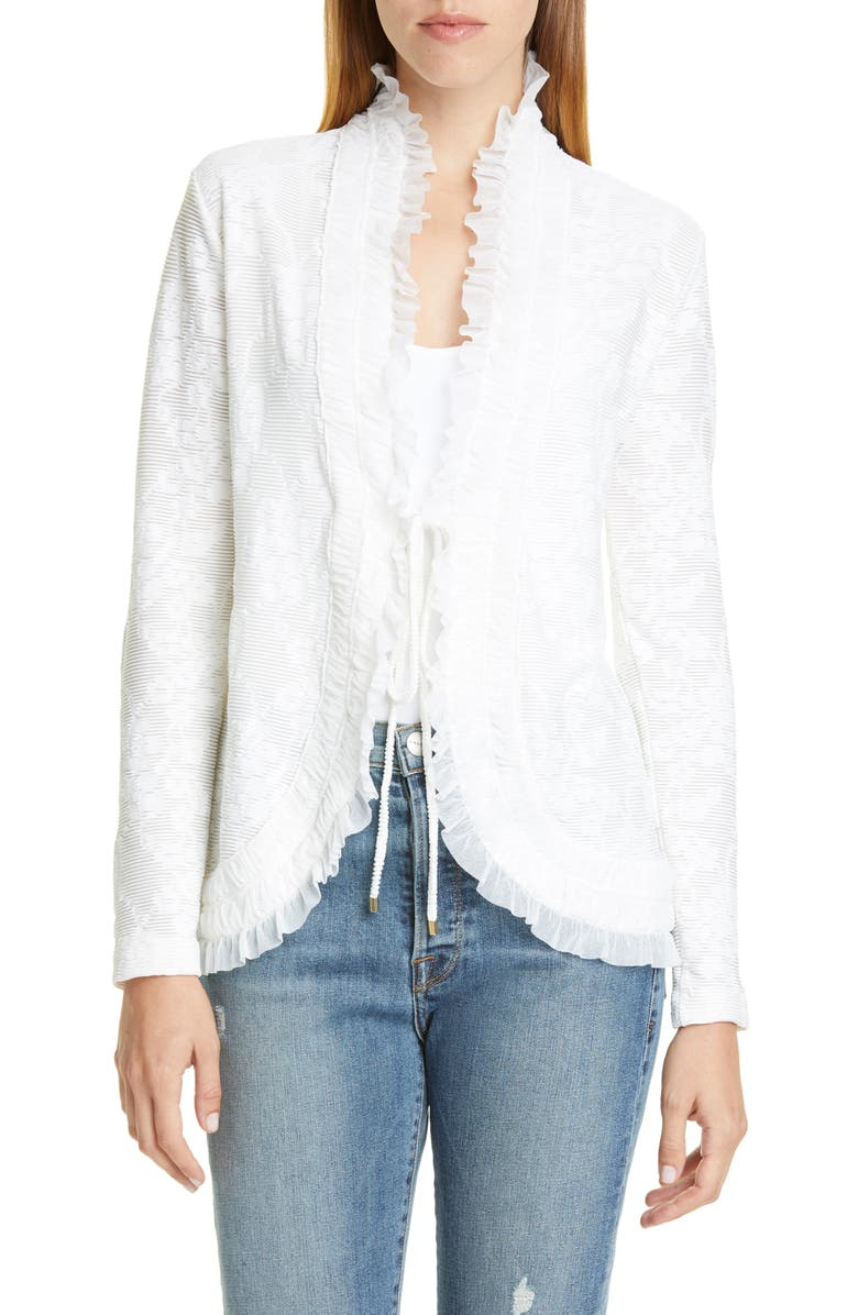 FUZZI Ruffle Trim Lace Jacket, Main, color, COCCO