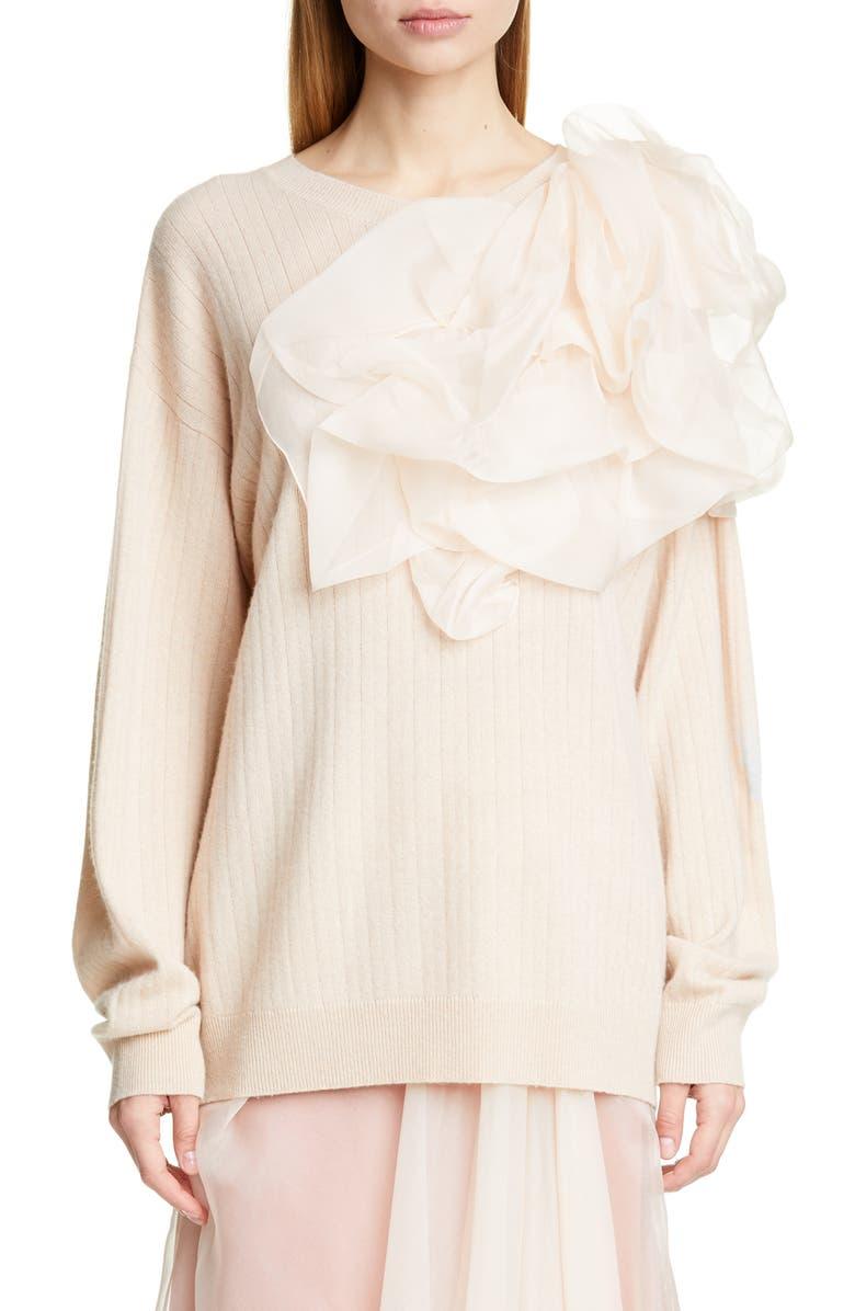 SIES MARJAN Awa Pouf Rib Wool & Cashmere Sweater, Main, color, FOUNDATION