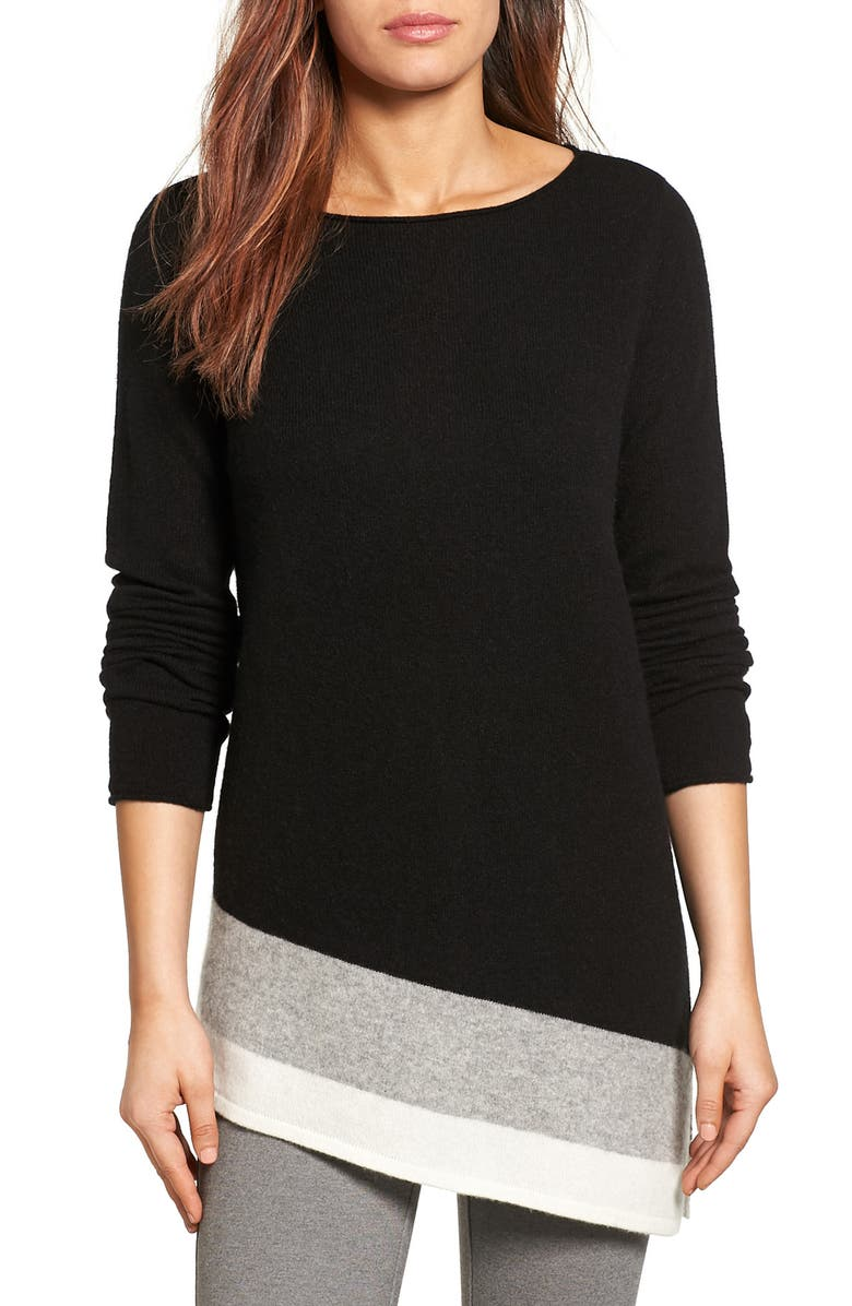 HALOGEN<SUP>®</SUP> Colorblock Cashmere Asymmetrical Tunic, Main, color, 001