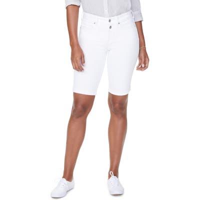 Petite Nydj Briella Roll Cuff Bermuda Shorts, White