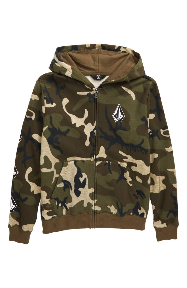 VOLCOM Deadly Stones Front Zip Hooded Sweatshirt, Main, color, CAMOUFLAGE