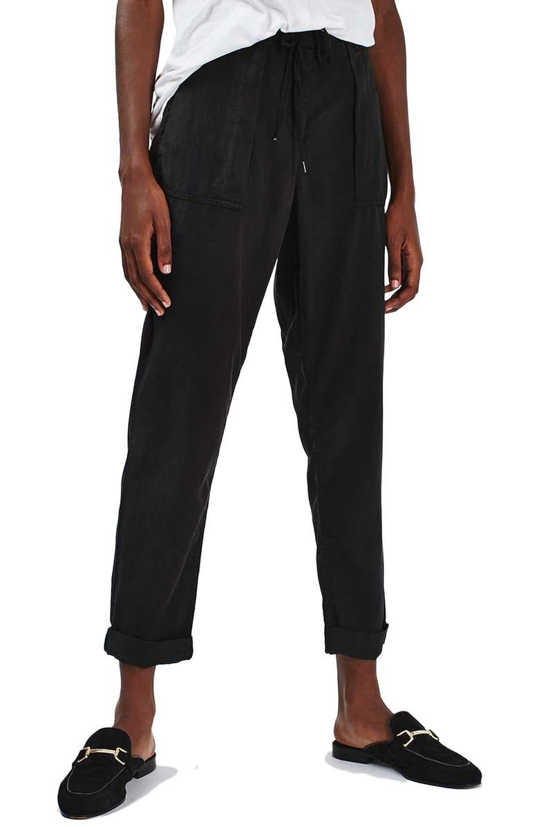 TOPSHOP Utility Tapered Trousers, Main, color, 001