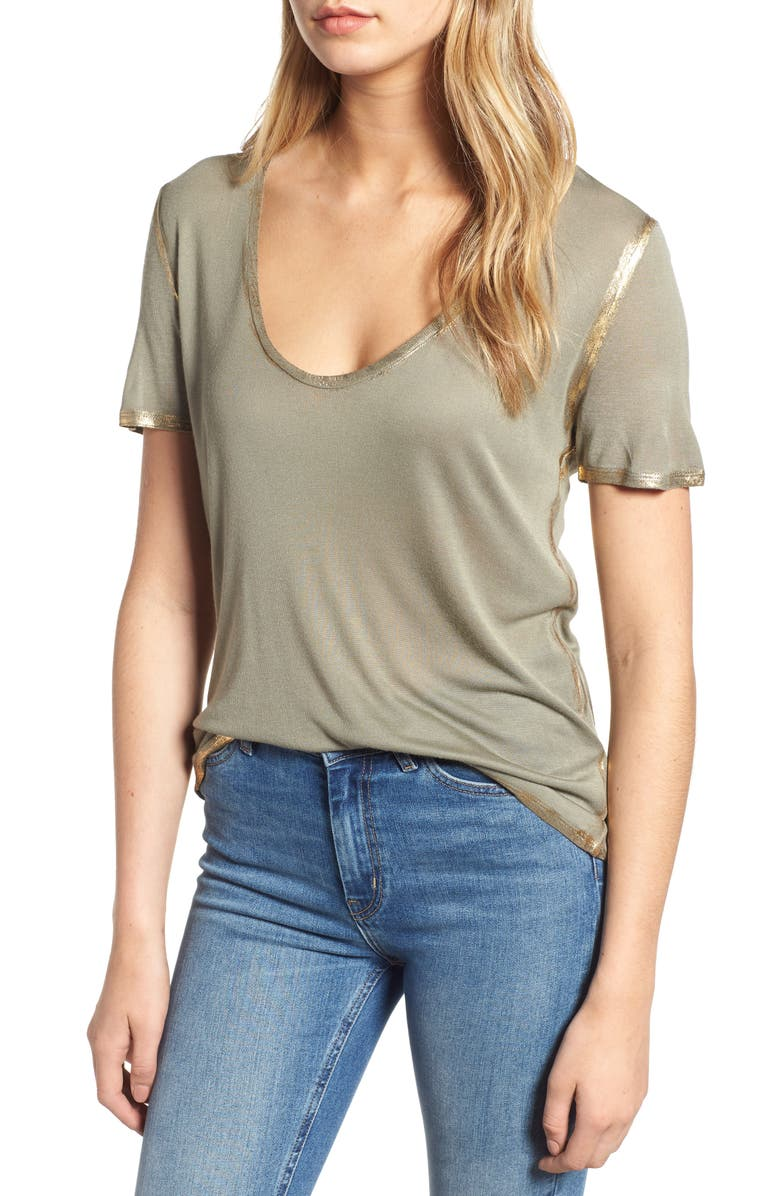 ZADIG & VOLTAIRE Tino Foil Tee, Main, color, 300