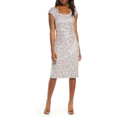 Tahari Sequin & Beaded Sheath Dress, Beige