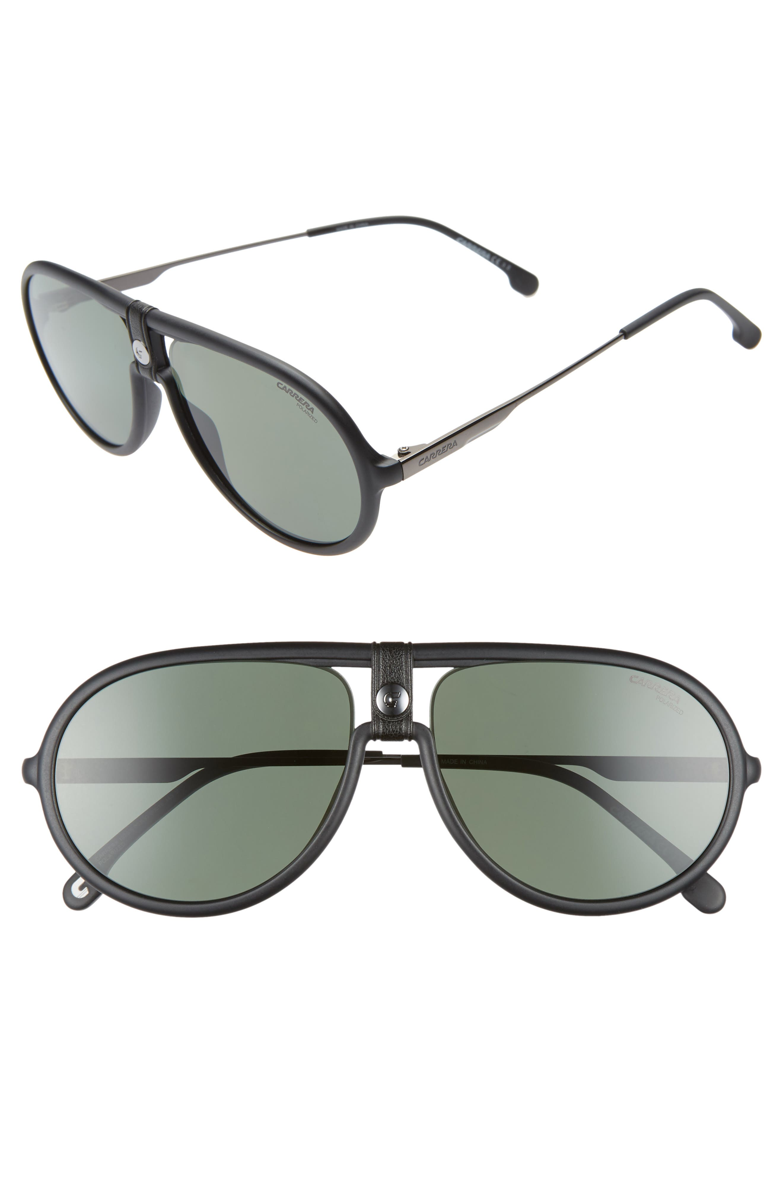 Carrera Eyewear 60Mm Polarized Aviator Sunglasses - Matte Black