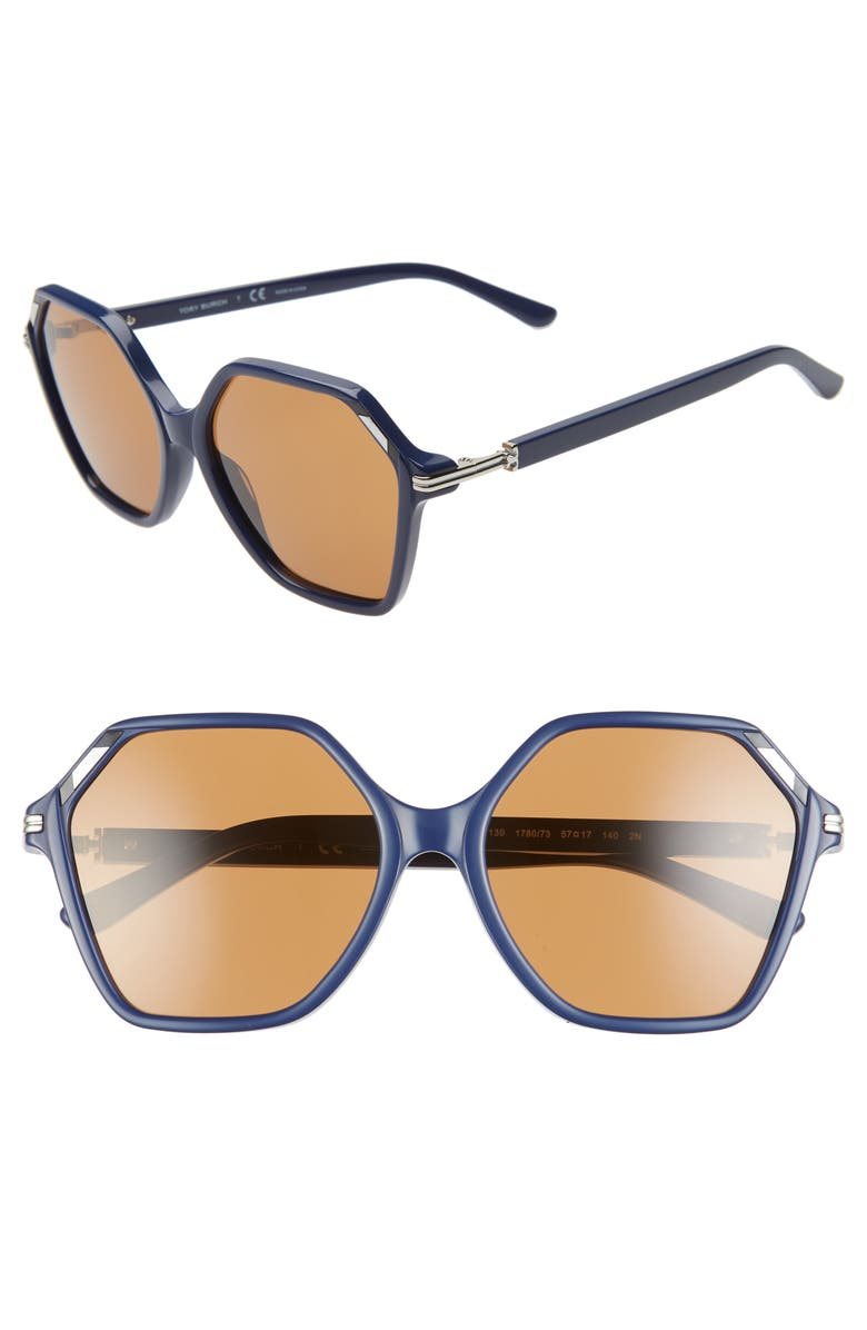 TORY BURCH 57mm Gradient Hexagon Sunglasses, Main, color, NAVY/ BROWN SOLID