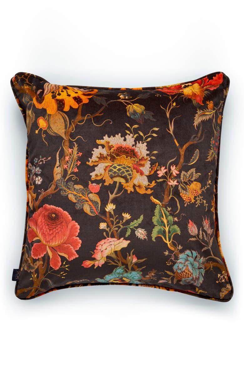 HOUSE OF HACKNEY Artemis Floral Velveteen Accent Pillow, Main, color, BLACK