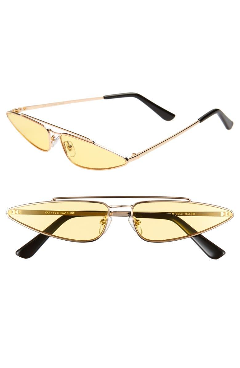 THE RAIL Zane 45mm Sunglasses, Main, color, GOLD/ YELLOW