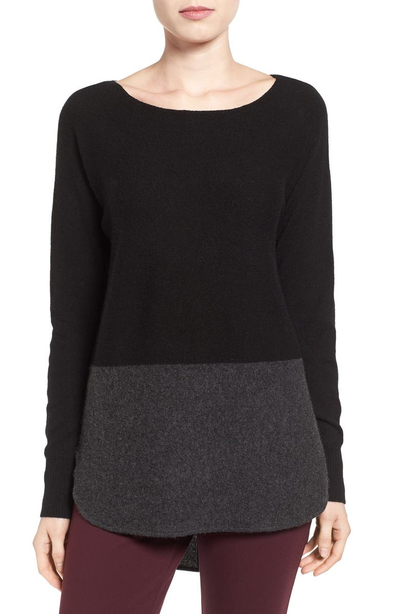 HALOGEN<SUP>®</SUP> Cashmere High/Low Tunic, Main, color, 001