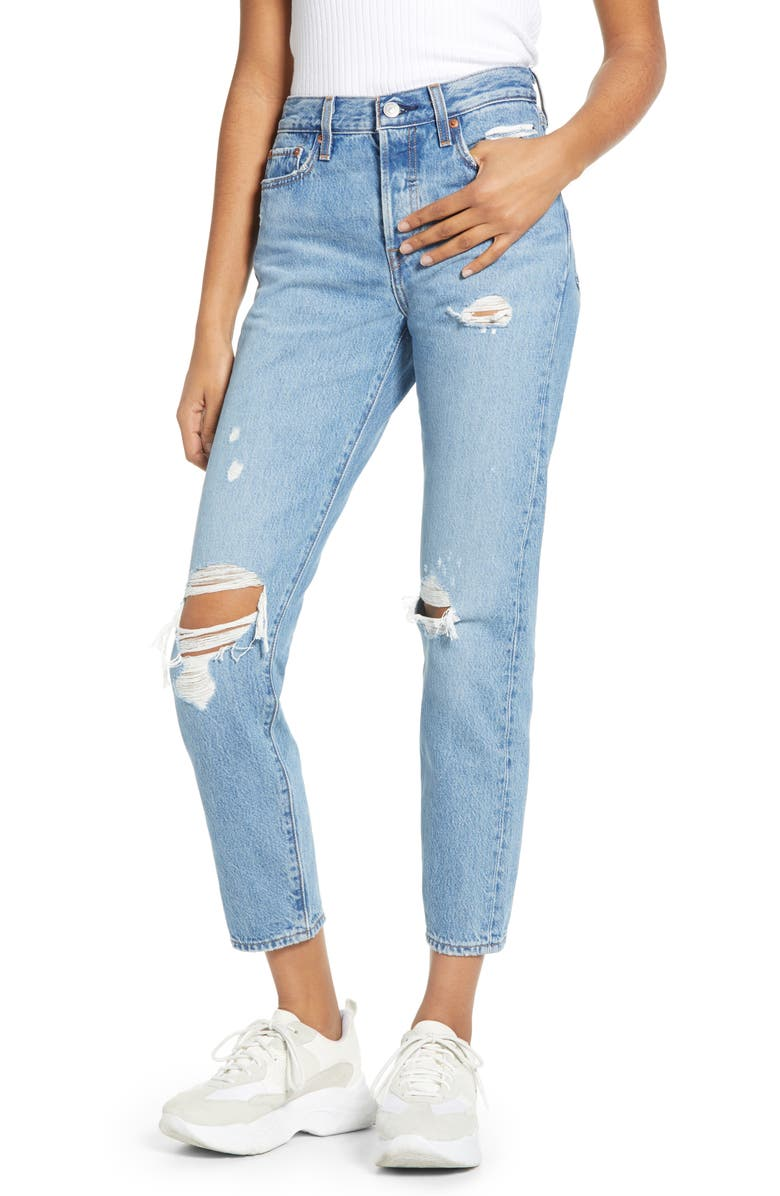 LEVI'S<SUP>®</SUP> Wedgie Icon Fit Ripped Straight Leg Jeans, Main, color, AUTHENTICALLY YOURS