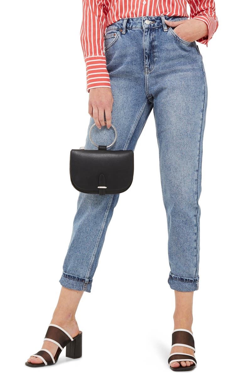 TOPSHOP MOTO High Waist Mom Jeans, Main, color, MID DENIM