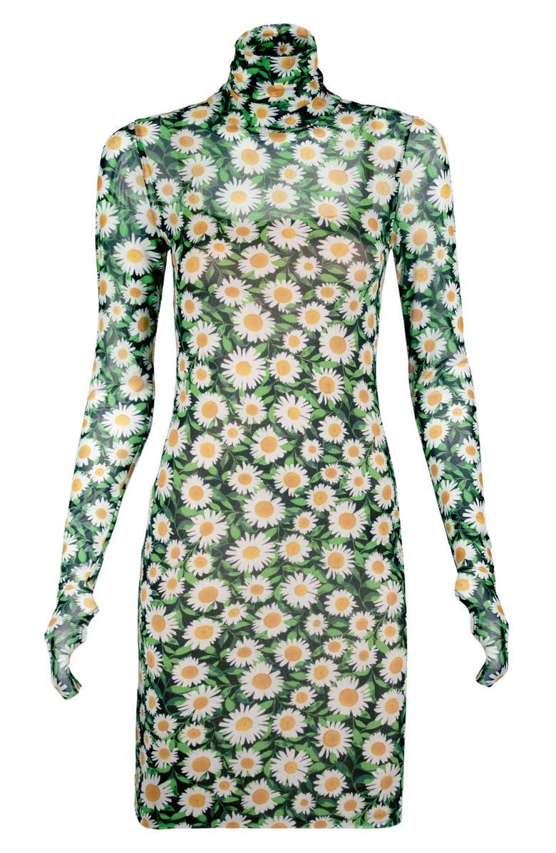 AFRM Mari Print Long Sleeve Turtleneck Mesh Body-Con Dress, Main, color, SPRING DAISY