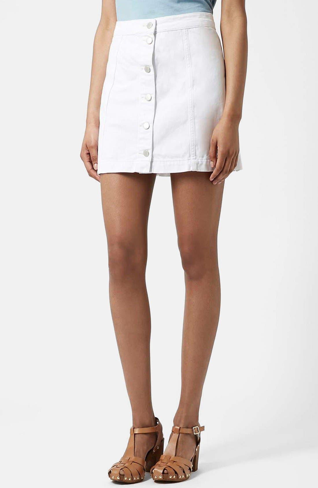 ,                             Moto Button Front Denim Skirt,                             Main thumbnail 1, color,                             100